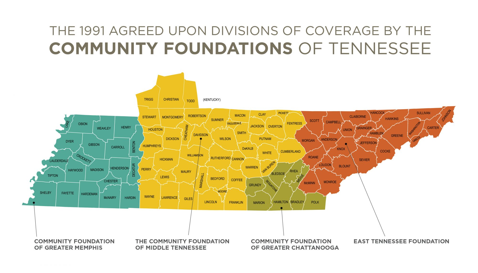 The Community Foundations of Tennessee Map