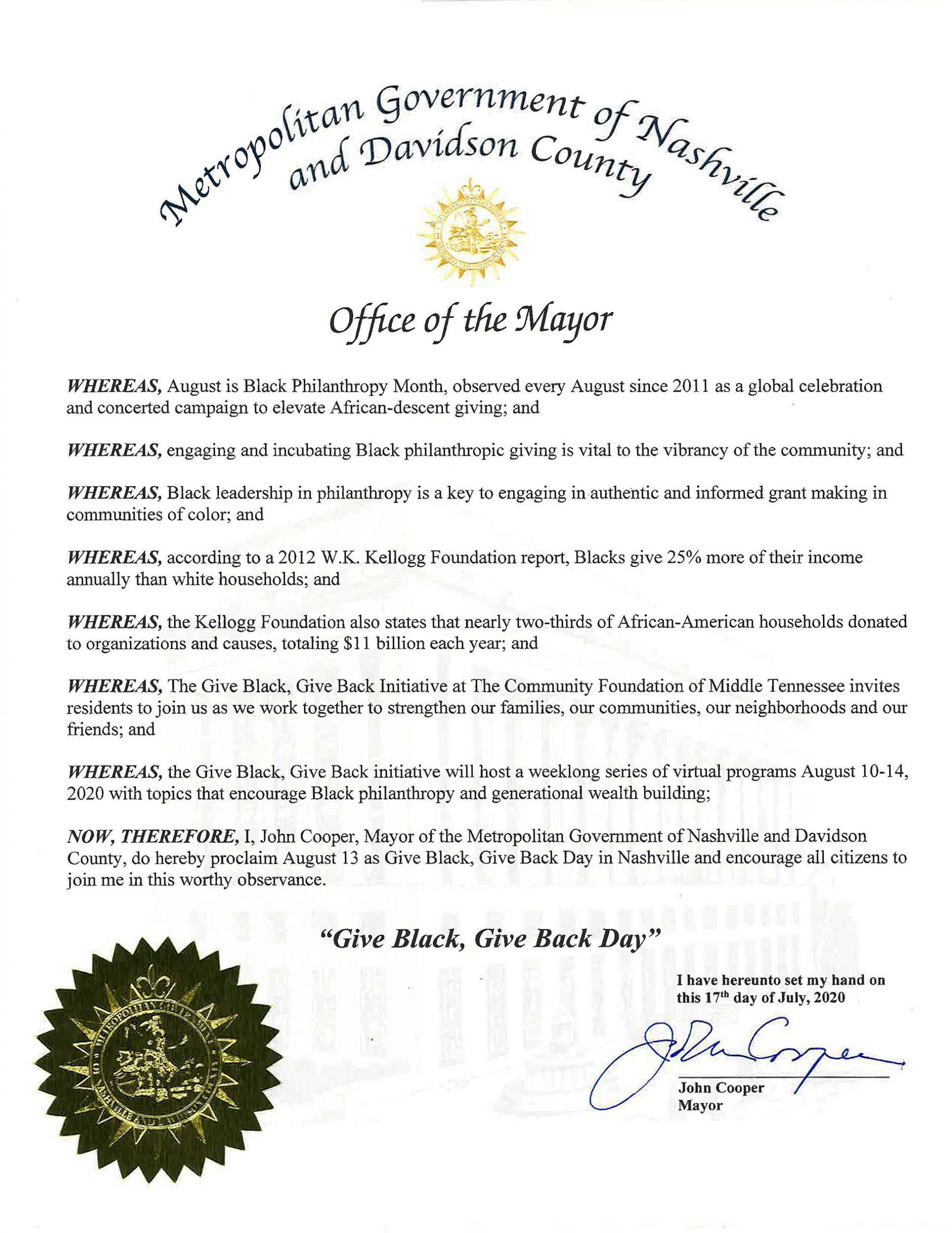 Give Black, Give Back Mayors Proclamation