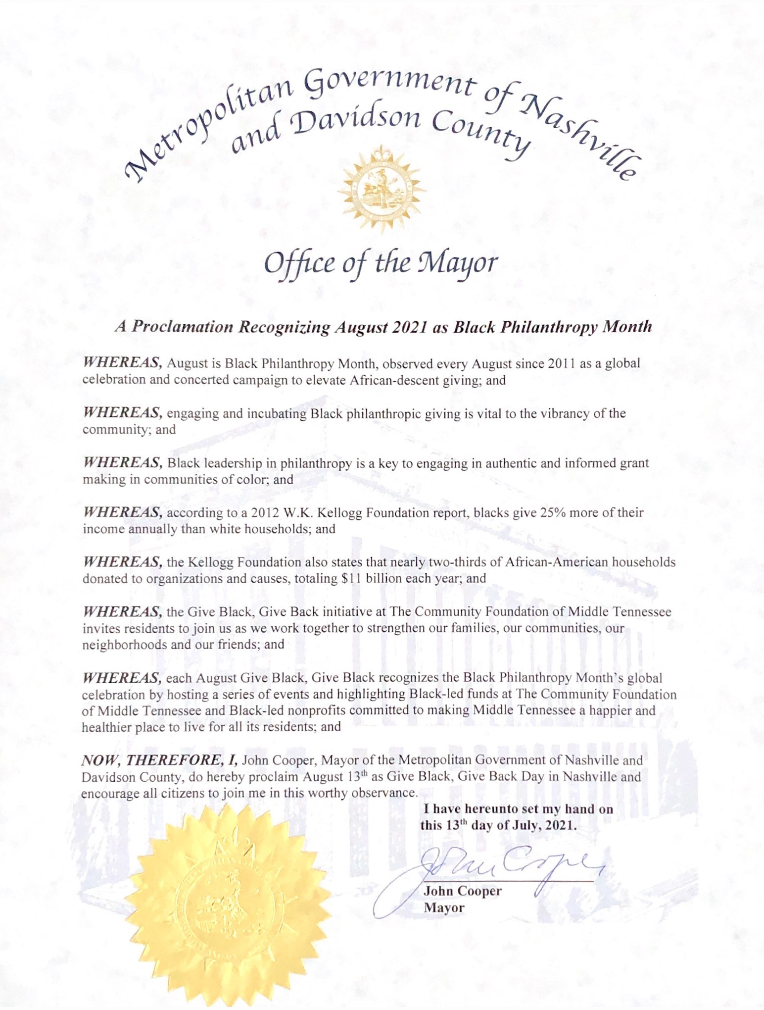 Office of the Mayor - Give Black, Give Back Proclamation