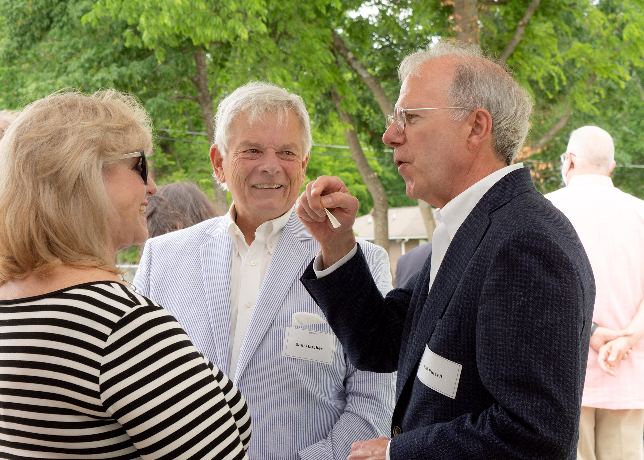 CFMT Director of Donor Education Belinda Havron chats with The Community Foundation of Wilson County board member Sam Hatcher and former Mayor Bill Purcell