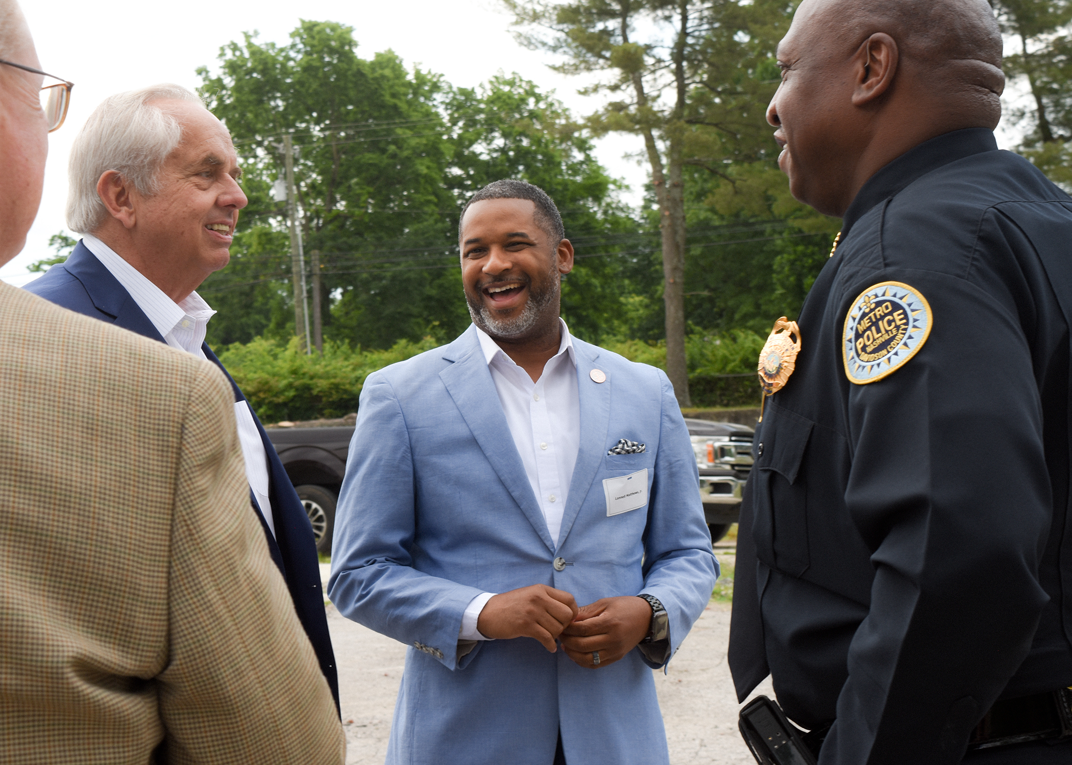 Building project manager Larry Atema of Commonwealth Development Group with Davidson Co. Juvenile Court Clerk Lonnell Matthews and Metro Chief of Police John Drake